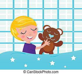 schattig, slapende, en, dromen, jongen met teddy beer