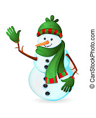 schattig, sneeuwpop, vrijstaand, op wit