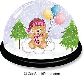 schattig, snowdome, beer, teddy