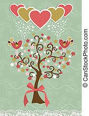 schattig, sociaal, vogels, liefde