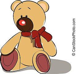 schattig, speelbal, ongeveer, teddy, kleur, hals, illustratie, tekening, vector, beer, zacht, of, lint, rood