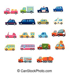 schattig, speelbal, set, auto, iconen