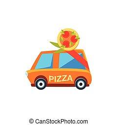schattig, speelgoedauto, aflevering, pictogram, pizza