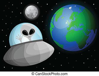 schattig, spotprent, alien, in, ruimte