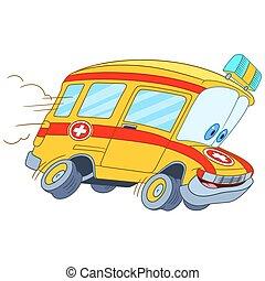 schattig, spotprent, ambulance, auto