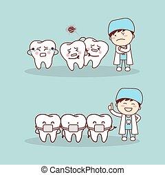schattig, spotprent, bretels, tand