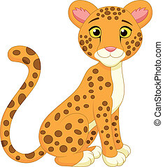 schattig, spotprent, cheetah