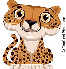 schattig, spotprent, cheetah