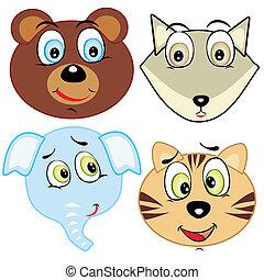 schattig, spotprent, dierenkop, iconen