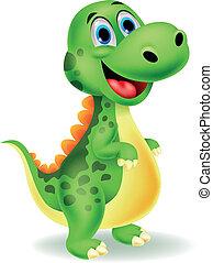 schattig, spotprent, dinosaurus