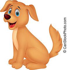 schattig, spotprent, dog, zittende