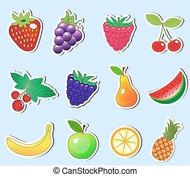 schattig, spotprent, fruit, sticker, set, vector, illustratie