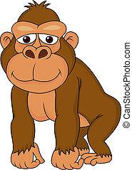 schattig, spotprent, gorilla