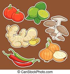 schattig, spotprent, groente, set
