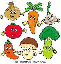 schattig, spotprent, groente, verzameling