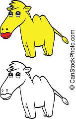 schattig, spotprent, kameel