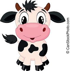 schattig, spotprent, koe