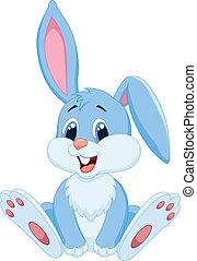 schattig, spotprent, konijn