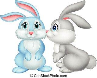 schattig, spotprent, konijn, kussende