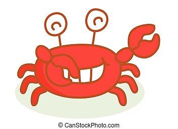 schattig, spotprent, krab