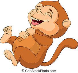 schattig, spotprent, lachen, aap