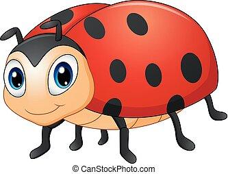 schattig, spotprent, lieveheersbeest