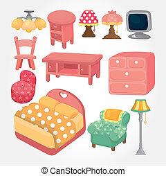 schattig, spotprent, meubel, pictogram, set