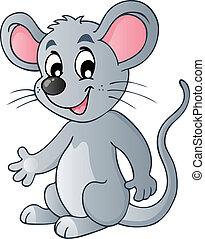schattig, spotprent, muis