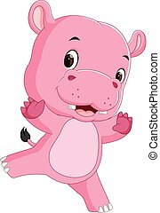 schattig, spotprent, nijlpaard