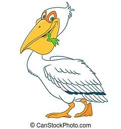 schattig, spotprent, pelikan