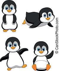 schattig, spotprent, penguin