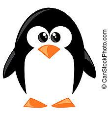 schattig, spotprent, penguine
