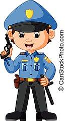 schattig, spotprent, politieagent