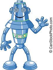 schattig, spotprent, robot