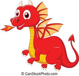 schattig, spotprent, rood, draak