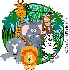 schattig, spotprent, safari