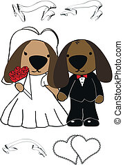 schattig, spotprent, set, dog, trouwfeest