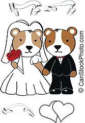 schattig, spotprent, set, hamster, trouwfeest