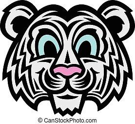 schattig, spotprent, tiger, kat
