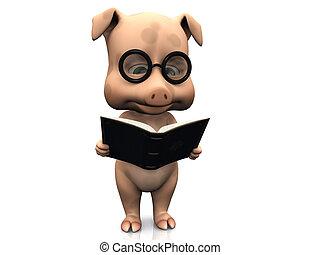schattig, spotprent, vasthouden, book., varken