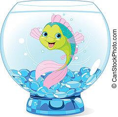 schattig, spotprent, visje, in, aquarium