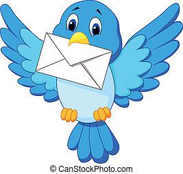 schattig, spotprent, vogel, bezorgen, brief