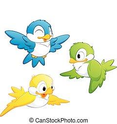 schattig, spotprent, vogels