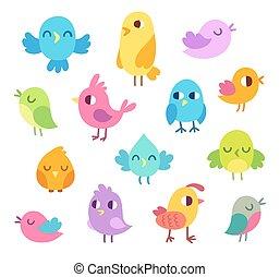 schattig, spotprent, vogels, set