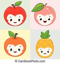 schattig, spotprent, vruchten