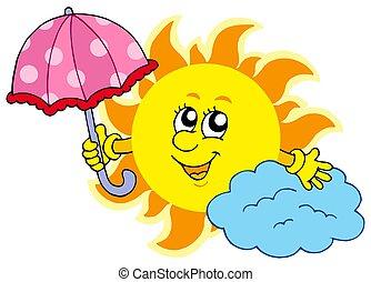 schattig, spotprent, zon, met, paraplu