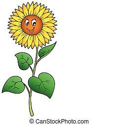 schattig, spotprent, zonnebloem
