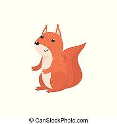 schattig, squirrel, bosterrein, illustratie, vector, dier, spotprent