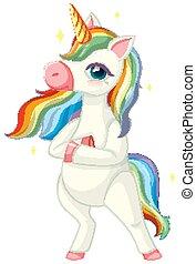 schattig, staand, witte achtergrond, positie, regenboog, eenhoorn
