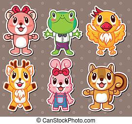 schattig, stickers, dier
